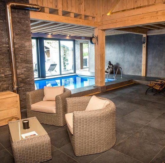 Espace détente autour d'une piscine intérieure